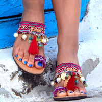 "Colorful Sandals, Greek Sandals, ""Morocco"" Summer shoes, barefoot sandals, hippie leather shoes, dance shoes, oriental sandals"
