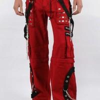 Tripp NYC Baggy Step Chain Pants in Red/Black Stitch