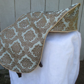 English Saddle Cover:  Sage and Taupe Damask Print
