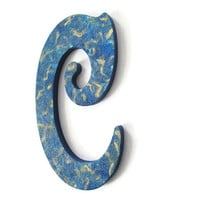"Victorian Letter C hand painted in blue and metallic gold, 10"" wooden wall letter, ready to ship decorative letter"