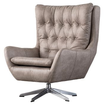 Skylar PU Leather Swivel Chair Devore Gray