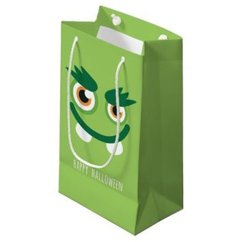 Cute green monster face Happy Halloween Small Gift Bag