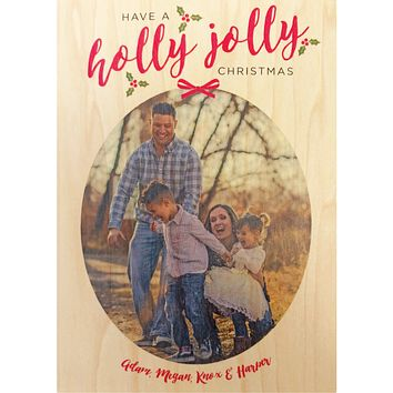 Holly Jolly Photo Christmas Card on Real Wood Veneer | Printed with Your Family Photo and Custom Holiday Greeting