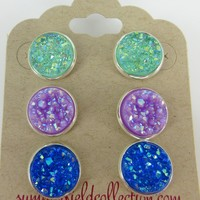 Trio Silver-Tone Stud Earrings 12mm Faux Druzy Stone Seafoam Lavender Med Blue