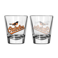 Baltimore Orioles Shot Glass - 2 Pack Satin Etch