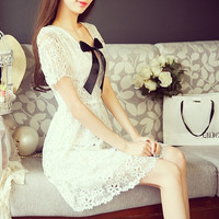 Wind Hollow Lace Flower V-Neck Bow Short-Sleeve Temperament Dress