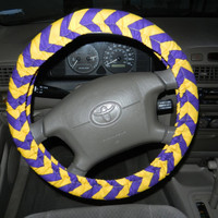 Purple and Gold Chevron Steering Wheel Cover