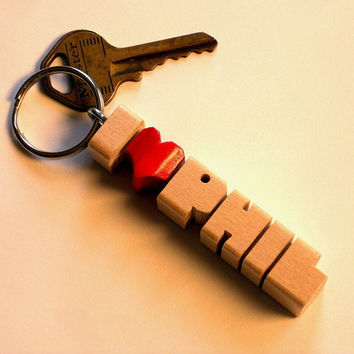 Maple Wood Name iHeart Keychain - Carved to Order in the USA