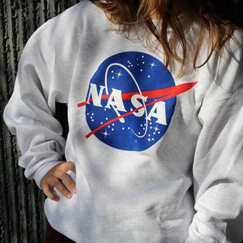 Womens White NASA Print Loose Sweater