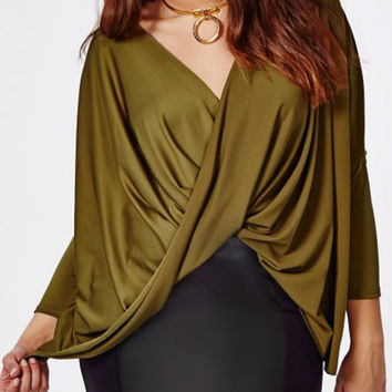 Military Green V Neck Twisty Front Drape Plue Size Blouse