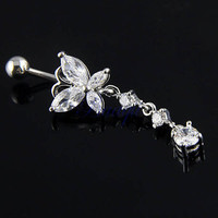 Crystal Butterfly Navel Rings Accessory Belly Ring [6768823111]