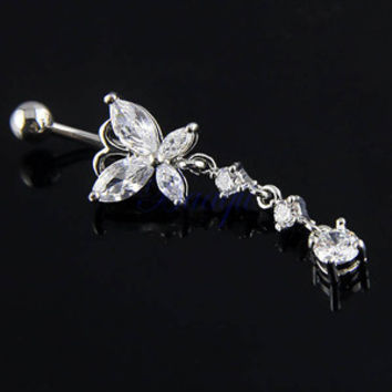New Charming Dangle Crystal Navel Belly Ring Bling Barbell Button Ring Piercing Body Jewelry = 4804854788