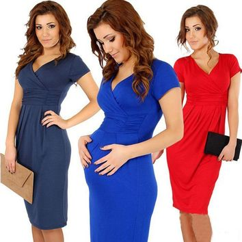 Women V neck Cotton Jersey Maternity Dress