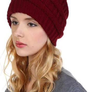 Women's Beanie Chunky Cable Knit Warm Winter Hat Mocha: OS