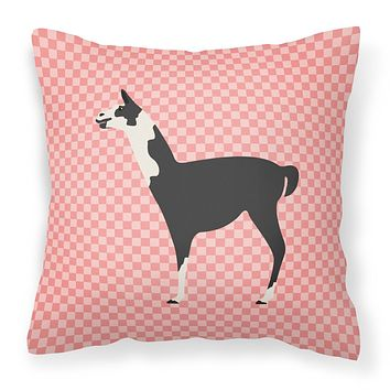 Llama Q' Ara Pink Check Fabric Decorative Pillow BB7918PW1414