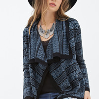 LOVE 21 Patterned Shawl Collar Cardigan Black/Blue