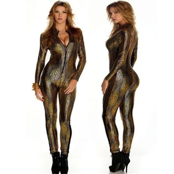 2016 Snake Skin Gold Jumpsuit Long Sleeve Front Zipper Black Gray Bodysuit Ladies Playsuits Faux Leather Catsuit For Women
