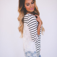 Black/White Striped Lace Back Top