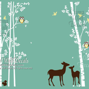 tree wall decal animal deer squarrel forest Vinyl wall decals wall decal nursery wall sticker children - 7tree birds deers Z147A Cuma