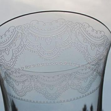 Lenox etched Fair Lady goblet glass Crystal  Made in USA Mt Pleasant PA