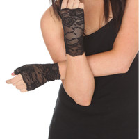 Black Floral Lace Fingerless Gloves   Hot Topic