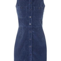 Cord Button Front Dress - Topshop