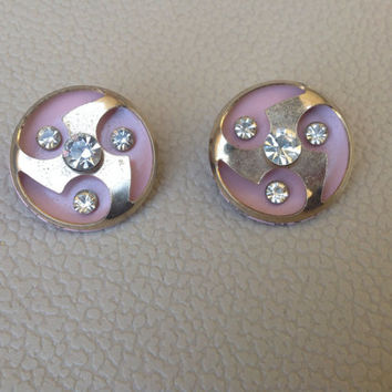Vintage Pink Art Deco Style Clip On Earrings with Rhinestones