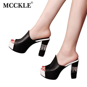 MCCKLE Woman Fashion Shoes Women Platform Slippers Flip Flops Wedges Heels Shoes Gladiator Sandals Women Sandalias Mujer