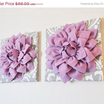 "MOTHERS DAY SALE Two Wall Flowers -Lilac Purple Dahlia on Gray and White Damask 12 x12"" Canvas Wall Art- Baby Nursery Wall Decor-"