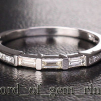 Baguette/Princess Diamond Wedding Band Half Eternity Anniversary Ring 14K White Gold