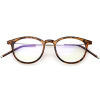Vintage Indie Dapper Horned Rim Clear Flat Lens Glasses C632