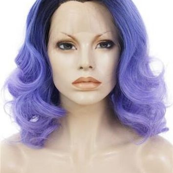 Short Purple Wave Drag Queens Dark Roots Bob Synthetic Lace Front Wig