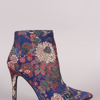 Qupid Floral Brocade Pointy Toe Stiletto Ankle Boots