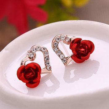 New Fashion Gold Color Crystal Rhinestones Earrings For Women Heart-shaped Red Rose Flower Stud Earrings Valentine's Day Gift