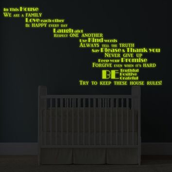 Glowing Vinyl Wall Decal Quote In This House We Are Family  - Glow in Dark Inspirational Saying Sticker - Luminescent Text + Free Decal Gift