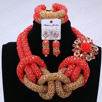 Women Jewelry Set Red  Gold Crystal Bridal Beads Statement Necklace Set