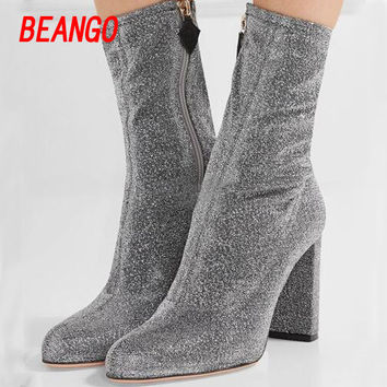 BEANGO Hot selling denim stretch med calf boots sexy high boots pointed round toe simple and breathable side zippers women shoes