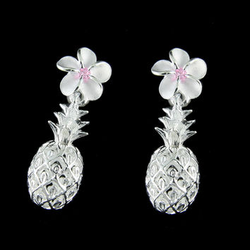 SILVER 925 HAWAIIAN PLUMERIA FLOWER DANGLE PINEAPPLE POST EARRINGS PINK CZ