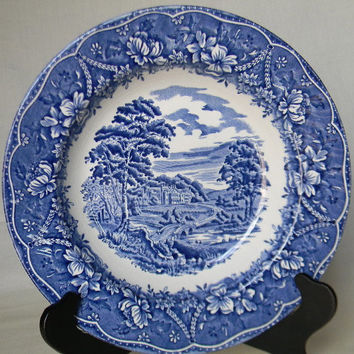 Vintage Blue Transferware Deep Plate - Shallow Bowl Victorian Swagged Garland Roses and Castles