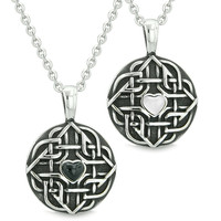 Amulets Love Couple Best Friends Celtic Shield Knot Magic Heart Simulated Onyx White Cats Eye Necklaces