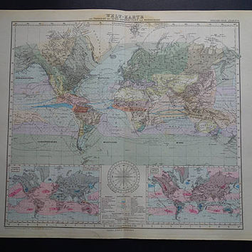 """Antique WORLDMAP large 1884 original old poster world in Mercator's projection wind and rainfall rain climate vintage maps 15x17"""" big print"""