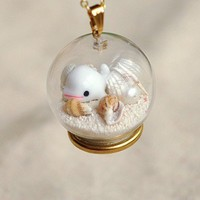 Super Cute Beluga Starfish Glass Ball Necklace