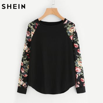 SHEIN Floral Raglan Sleeve Womens Long Sleeve Tee Shirt