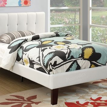 Bernadette II collection white faux leather tufted headboard twin bed