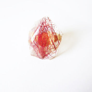 REAL FLOWER resin RING. Botanical ring with callistemon pistils
