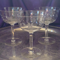 Crystal Champagne Coupes, Hand Blown, Hand Etched Starflower Pattern, Set of Three Mid Century Saucers, Optic Panel Bowls, Straight Stem