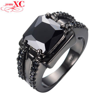 2016 Latest Geometric Design Black Men's Ring Gold Filled Fashion Jewelry Vintage Wedding Rings For Men Bague Homme RB0073