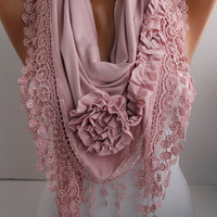New- Soft Pink  Jersey Rose Shawl/ Scarf - Headband -Cowl with Lace trim