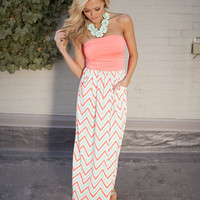 Chevron Print Strapless Neon Orange Maxi