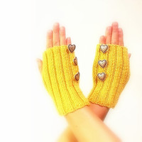 Yellow Knitted Fingerless Gloves,  Mittens, Hand Warmer,  Silver Metal Heart Buttons